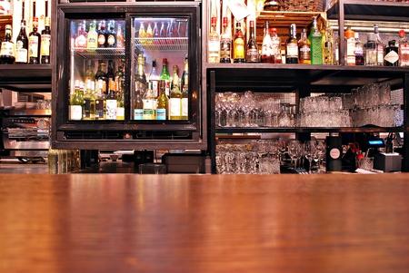 Warsaw, Poland. 31 January 2017.Empty of wood counter bar The Koszyki market hall, Editorial