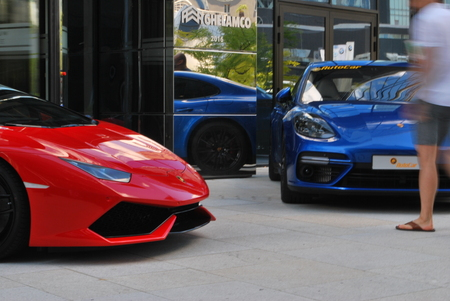 supercar: Warsaw, Poland. May 27, 2017. Top Garage show in Warsaw Spire skyscraper on European Square.