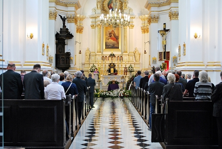 Wooden casket at a funeral - funeral ceremony in church