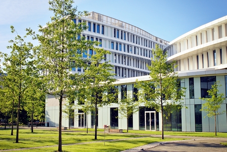Warsaw, Poland.2 June 2017.Business Garden complex.Seven independent buildings characterized by original architecture and an internal green garden. More than 90000 m² of modern office and amenity space
