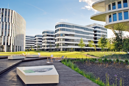 Warsaw, Poland.2 June 2017.Business Garden complex.Seven independent buildings characterized by original architecture and an internal green garden. More than 90000 m� of modern office and amenity space Editorial