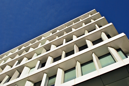 faade: Modern building. Modern office building with facade of glass
