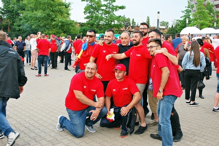 scores: Warfsaw, Poland. June 10, 2017. Romanian fans in Warsaw before Poland. Romania football match, Editorial