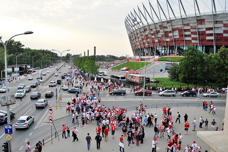 scores: Warfsaw, Poland. June 10, 2017. Polish fans at Warsaw vs. Poland. Romanian football match,