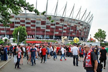 bandera de polonia: Warfsaw, Poland. June 10, 2017. Polish fans at Warsaw vs. Poland. Romanian football match,