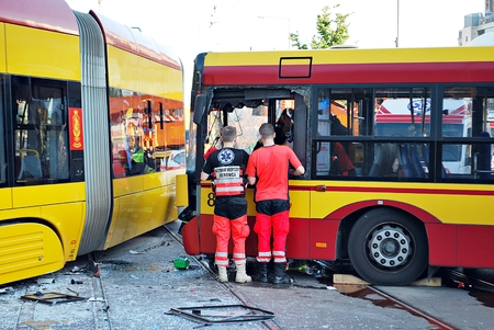 Warsaw, Poland. 15 June 2017. Accident city bus and tram. General image of a tram accident with a bus. Editorial