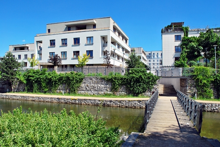 luxury apartment: Warsaw, Poland. 21 June 2017. Estate Marina Mokotow this are 42 buildings with 1447 apartments.Is located in the vincinity of Racawice and Wigury and Wigury Streets.Travelling by public transport