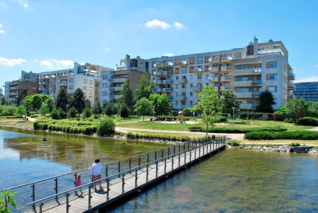 lodgings: Warsaw, Poland. 21 June 2017. Estate Marina Mokotow this are 42 buildings with 1447 apartments.Is located in the vincinity of Racawice and Wigury and Wigury Streets.Travelling by public transport