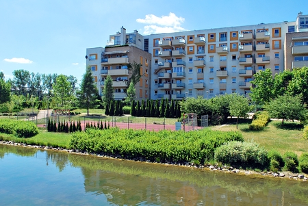 Warsaw, Poland. 21 June 2017. Estate Marina Mokotow this are 42 buildings with 1447 apartments.Is located in the vincinity of Racawice and Wigury and Wigury Streets.Travelling by public transport