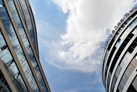 highend: Warsaw, Poland. 27 June 2017.Mercedes-Benz is a high-end office building with 10 storeys. The office lease area is 14,000 sqm. The building is a modern conference and training center.