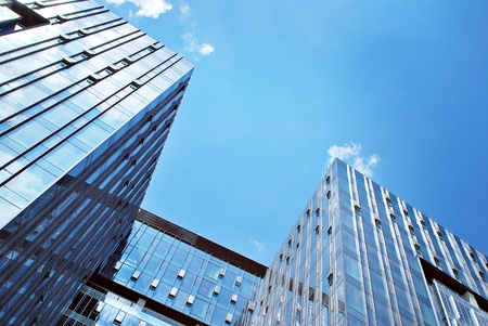 Modern building.Modern office building with facade of glass