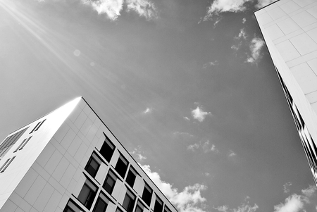 Modern office building. Architectural details of modern building. Black and white.