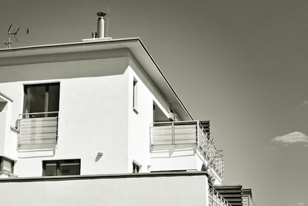 penthouse: Modern, Luxury Apartment Building. Black and white