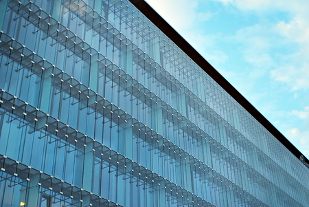 reverberation: Modern building.Modern office building with facade of glass