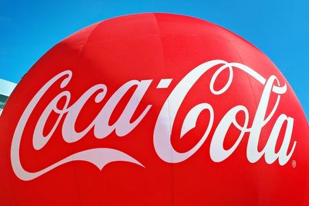 Warsaw, Poland. 14 July 2017. Advertising balloon. Sign Coca cola.