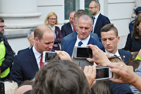 Warsaw, Poland.17 July 2017.Prince William among the crowds in Warsaw.Huge crowds of people have been pictured cheering Kate and William along on their royal visit. Editorial