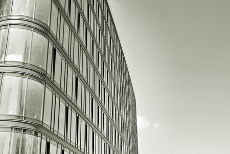 mirror: Modern office building. Black and white. Stock Photo