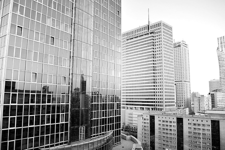 mirror: Modern office building.Black and white. Stock Photo