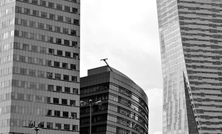 mirror frame: Modern office building.Black and white. Stock Photo