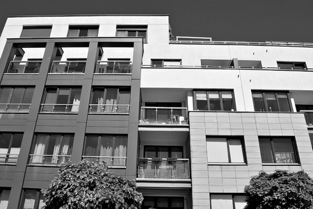 balcony: Modern, Luxury Apartment Building. Black and white.