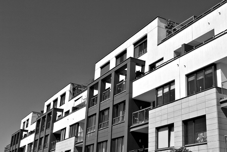 luxury room: Modern, Luxury Apartment Building. Black and white.