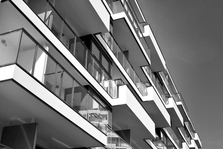 penthouse: Modern, Luxury Apartment Building. Black and white.