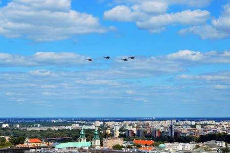 Warsaw, Poland.15 August 2017. Military parade in Warsaw on the occasion of the Polish Army Day. Flight of aircrafts