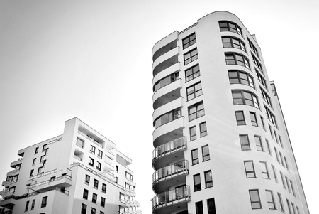 penthouse: Modern, Luxury Apartment Building.Black and white.