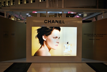 Warsaw, Poland. 7 September 2017. Chanel on billboard at Arkadia shopping center. Chanel is a high fashion house, specializes in clothes, luxury goods and fashion accessories. Editorial
