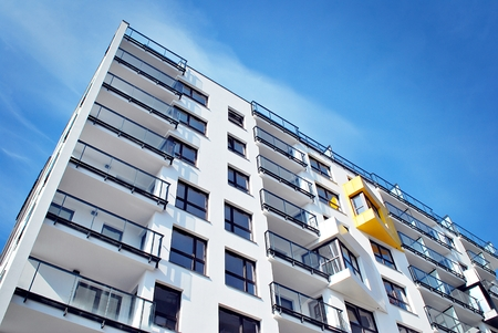 Modern, Luxury Apartment Building against blue sky Stock Photo