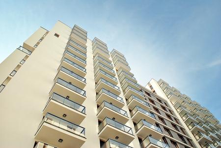 Modern, Luxury Apartment Building against blue sky Stock Photo