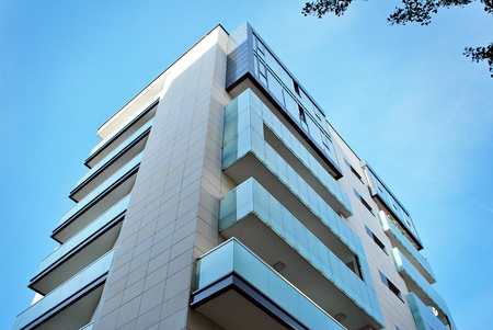 Modern, Luxury Apartment Building against blue sky Foto de archivo