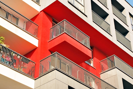 Modern, Luxury Apartment Building against blue sky Standard-Bild