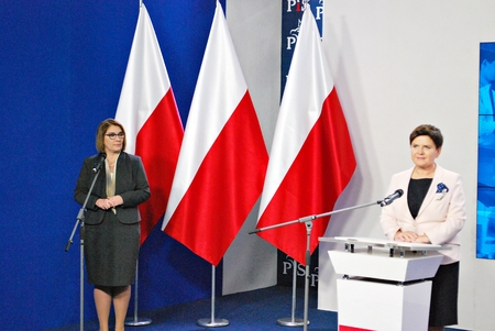 Warsaw, Poland. 14 November 2017.Polish Prime Minister Beata Szydlo attend a press conference summarizing the two years of the partys government.