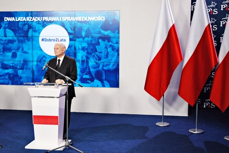 Warsaw, Poland. 14 November 2017.Leader of Polands ruling party Law and Justice, Jaroslaw Kaczynski, attend a press conference summarizing the two years of the partys government.