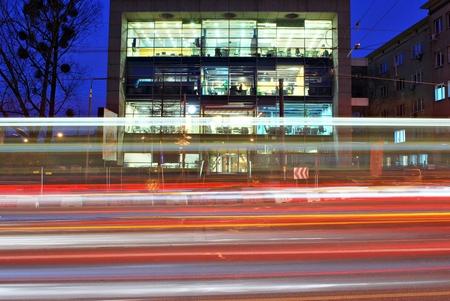 Modern office building at night Editorial