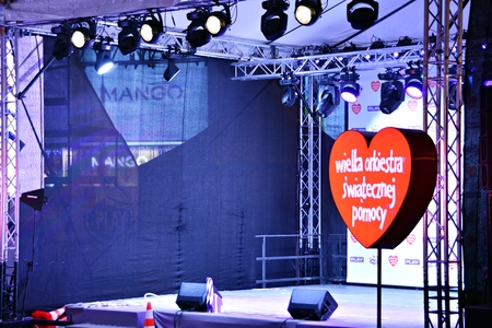 Warsaw, Poland. 13 January 2018. Red heart, a symbol of social charity. The charity campaign of the Great Orchestra of Christmas Charity. Jurek Owsiak.