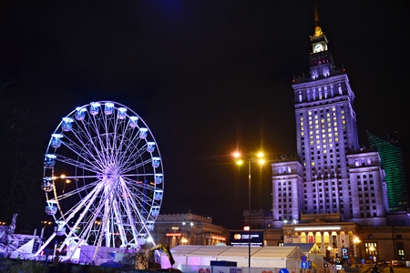 Warsaw, Poland. 13 January 2018. Ferris wheel in the city center. The charity campaign of the Great Orchestra of Christmas Charity. Jurek Owsiak.
