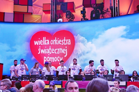 Warsaw, Poland. 14 January 2017. 26th Grand Finale by the Great Orchestra of the Christmas Charity Foundation. The Grand Finale Center is traditionally located on Plac Defilad in front of the Palace of Culture and Science in Warsaw. Editorial