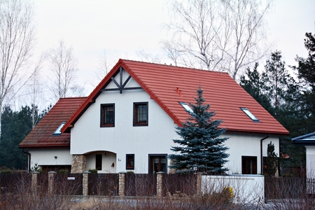 House in the suburbs. Front view. Stock Photo - 93557219