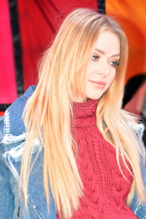 Warsaw, Poland. 14 January 2018. Aleksandra Ciupa Polish model, TV presenter and celebrity.Model who appeared in the Eurovision Song Contest in 2014. She was also Miss Mazovia. During a charity event.