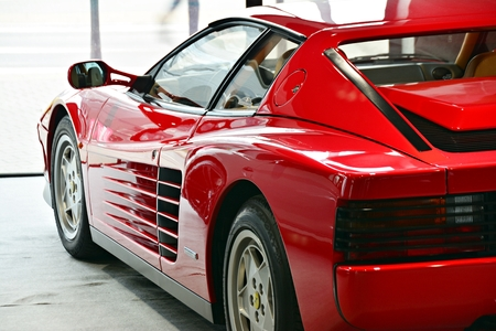 Warsaw, Poland. 3 February 2018. Ferrari Testarossa on display showroom