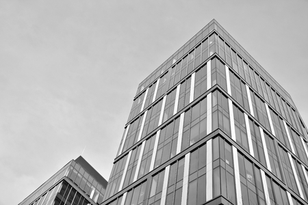 Office building. Business building. Exterior of building. Black and white. Stock Photo