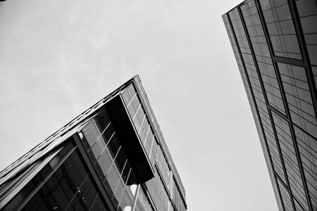 Office building. Business building. Exterior of building. Black and white. Stockfoto