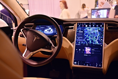 Warsaw, Poland. 18 February 2018. Interior of Tesla Model X 90D car. SW-board computer TESLA car, detail the new software on display. Tesla Motors is an American company. Editorial