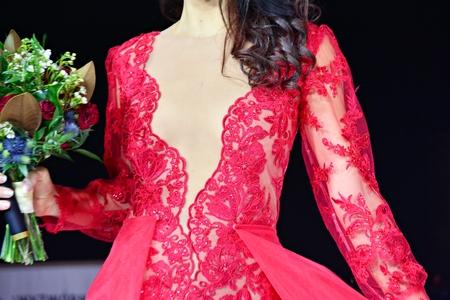 bride in red wedding dress Stock Photo
