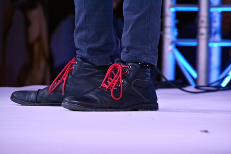 shoes with red laces 写真素材