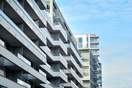detail of a new modern apartment building