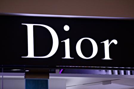 Warsaw, Poland. 17 March 2018. Sign Dior. Company signboard Dior.