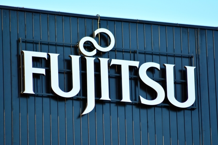 Warsaw, Poland. 6 June 2018. Sign Fujitsu. Company signboard Fujitsu.